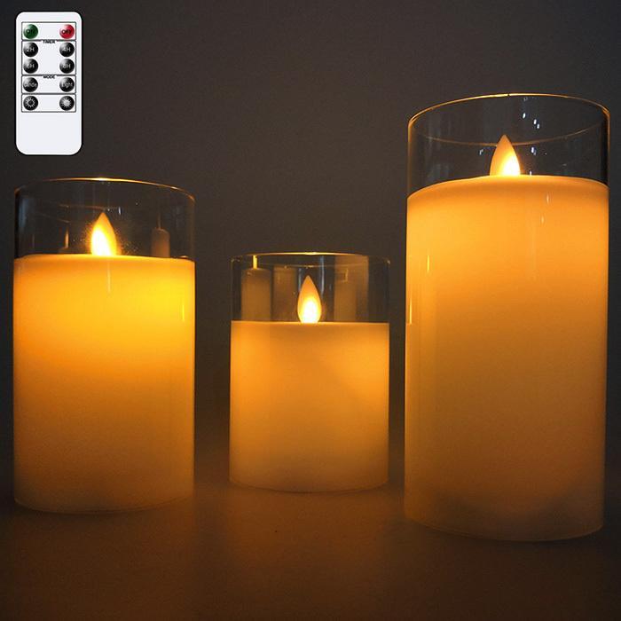 蝋製 LED キャンドルライト 3本セット リモコン付き グラス入り蝋製 キャンドル AL完売しました 電池式 ライト 照明 大人気 テーブルランプ ###蝋燭3PC-10D-### ろうそく おしゃれ