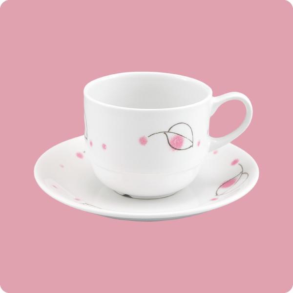 ニ・48 ニ・サ48 コーヒー碗・皿(ピンクなごみ)|aigineo