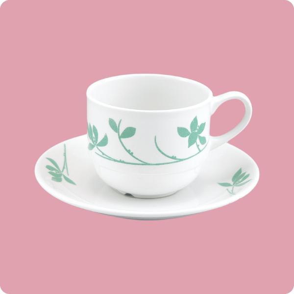ニ・48 ニ・サ48 コーヒー碗・皿(若葉) aigineo