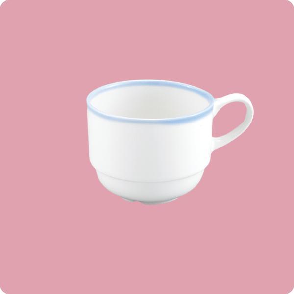 ニ・48 コーヒー碗(白無地・ブルー巻)|aigineo