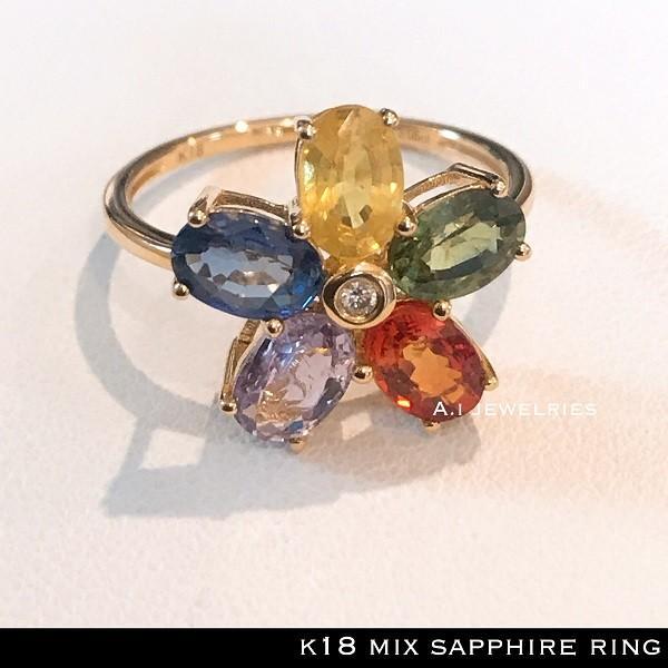 低価格で大人気の リング 18金 サファイヤ ミックス サファイヤ リング カラフル / k18 mix sapphire ring, SPEED AUTO PARTS e6222e0c