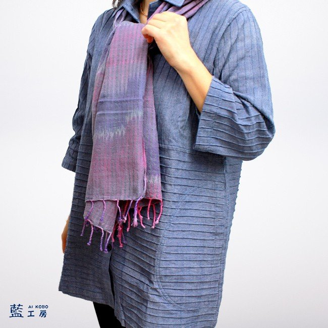 手織りグラデーションストール