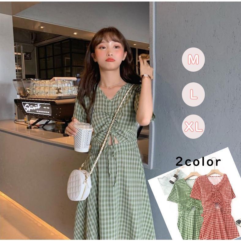 半袖ワンピース 春夏 ギンガムチェック 韓国ファッション ガーリー レッド 赤 グリーン 緑 バックリボン くすみカラー aim-fshop