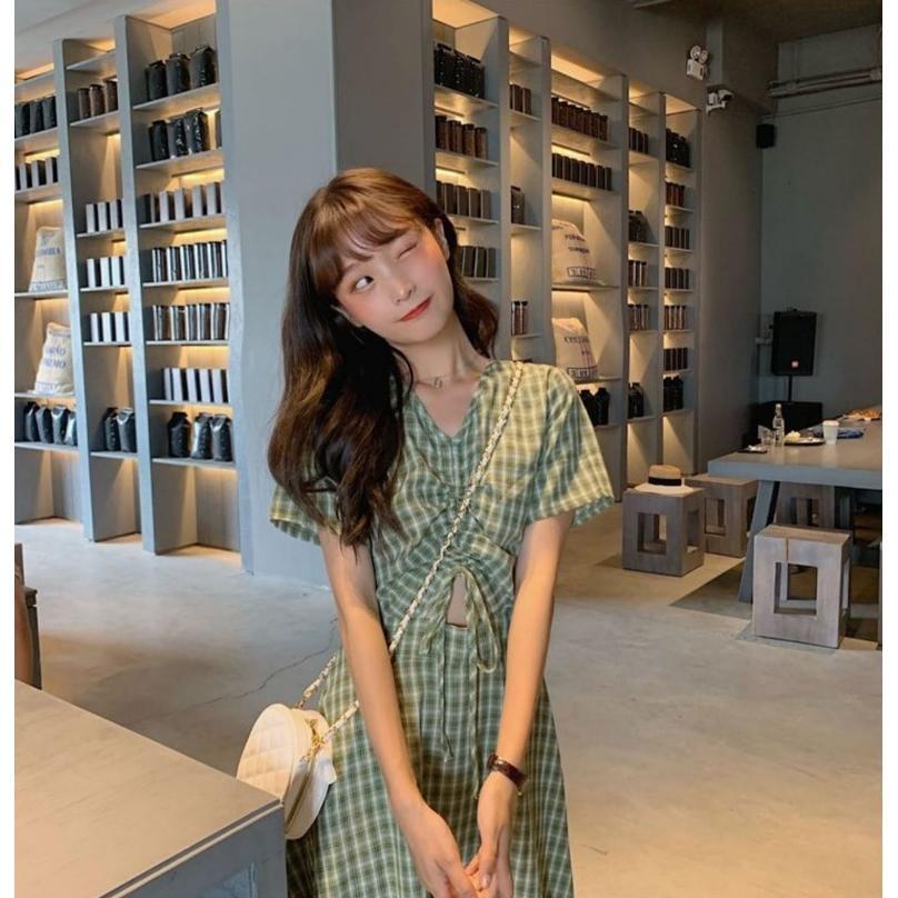 半袖ワンピース 春夏 ギンガムチェック 韓国ファッション ガーリー レッド 赤 グリーン 緑 バックリボン くすみカラー aim-fshop 02