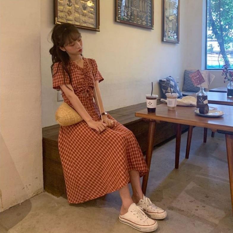 半袖ワンピース 春夏 ギンガムチェック 韓国ファッション ガーリー レッド 赤 グリーン 緑 バックリボン くすみカラー aim-fshop 12