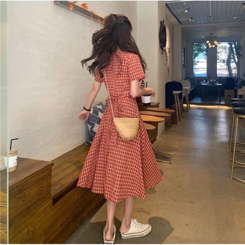 半袖ワンピース 春夏 ギンガムチェック 韓国ファッション ガーリー レッド 赤 グリーン 緑 バックリボン くすみカラー aim-fshop 13