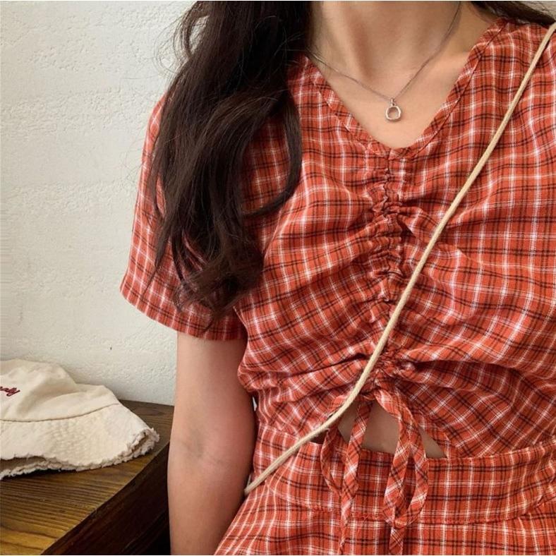 半袖ワンピース 春夏 ギンガムチェック 韓国ファッション ガーリー レッド 赤 グリーン 緑 バックリボン くすみカラー aim-fshop 14
