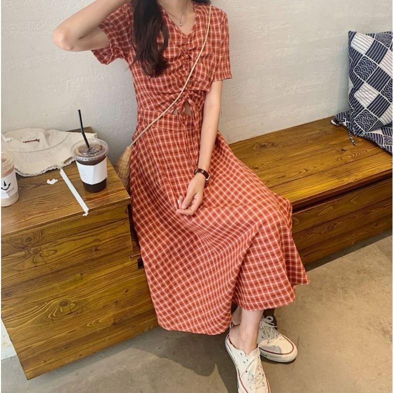 半袖ワンピース 春夏 ギンガムチェック 韓国ファッション ガーリー レッド 赤 グリーン 緑 バックリボン くすみカラー aim-fshop 15