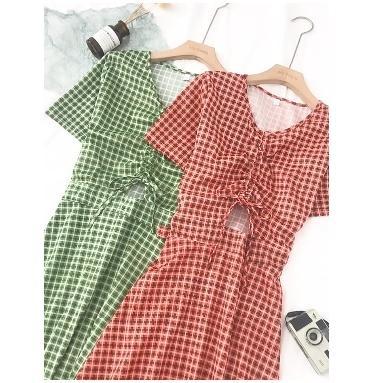 半袖ワンピース 春夏 ギンガムチェック 韓国ファッション ガーリー レッド 赤 グリーン 緑 バックリボン くすみカラー aim-fshop 16