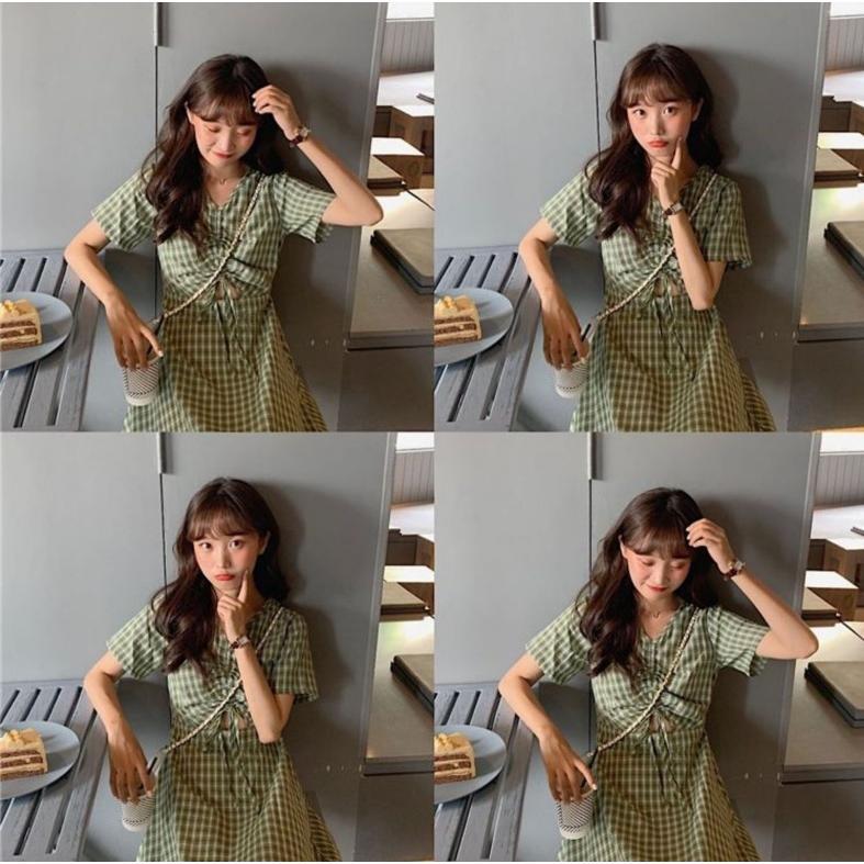 半袖ワンピース 春夏 ギンガムチェック 韓国ファッション ガーリー レッド 赤 グリーン 緑 バックリボン くすみカラー aim-fshop 05