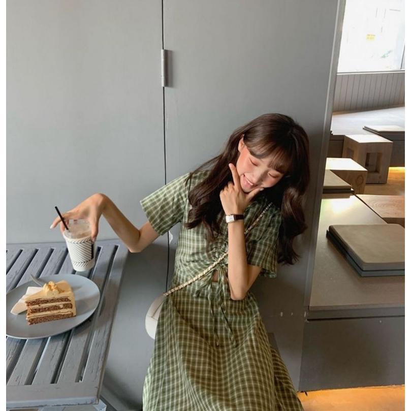 半袖ワンピース 春夏 ギンガムチェック 韓国ファッション ガーリー レッド 赤 グリーン 緑 バックリボン くすみカラー aim-fshop 06