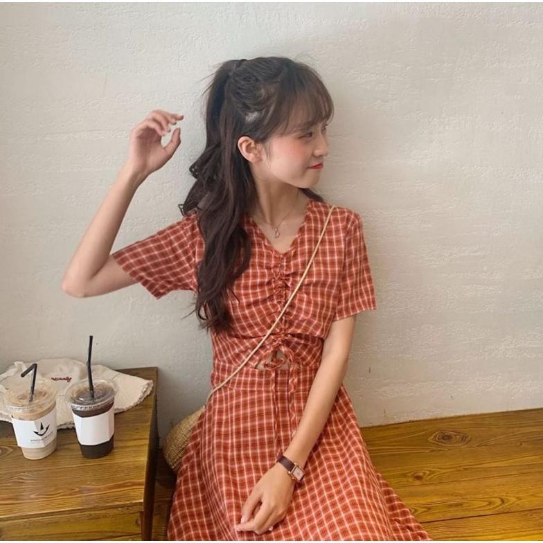 半袖ワンピース 春夏 ギンガムチェック 韓国ファッション ガーリー レッド 赤 グリーン 緑 バックリボン くすみカラー aim-fshop 08