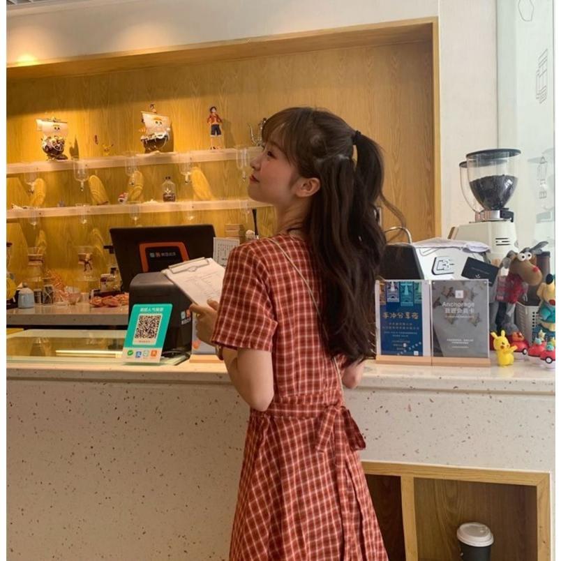 半袖ワンピース 春夏 ギンガムチェック 韓国ファッション ガーリー レッド 赤 グリーン 緑 バックリボン くすみカラー aim-fshop 10