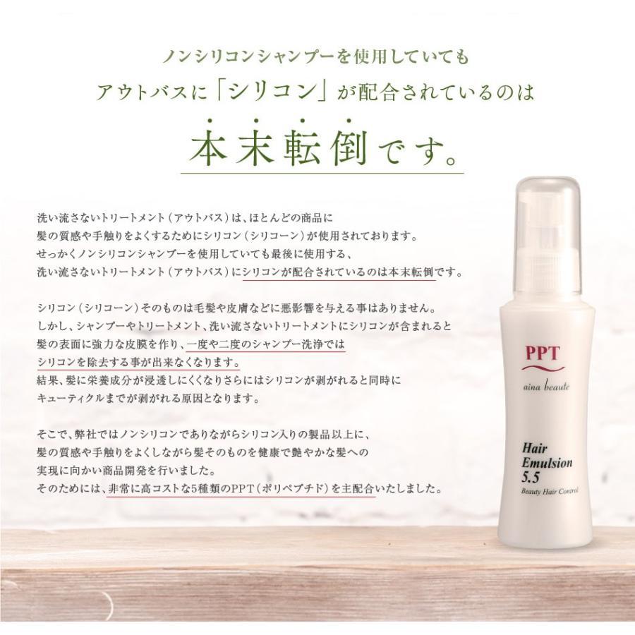 送料無料 3本セット 洗い流さない美容乳液 アイナボーテPPTヘアエマルジョン5.5 (ノンシリコン ヘマチン ペリセア リピジュア配合)|ainastyle|04