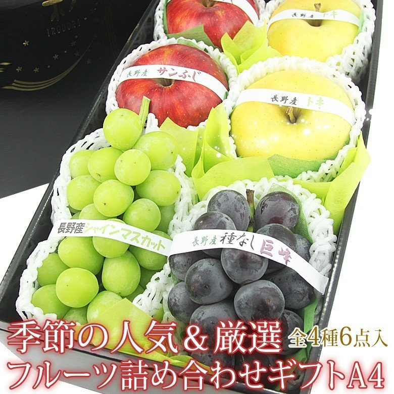 ぶどう リンゴ 林檎 くだもの 果物【季節の人気&厳選 フルーツ 詰め合わせ ギフト A4(巨峰1房・シャインマスカット1房・赤・青りんご各2個)】|aino-kajitu
