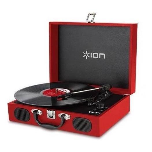 ION AUDIO VINYL TRANSPORT トランク型 新作 大人気 Red レコードプレーヤー 結婚祝い ポータブル