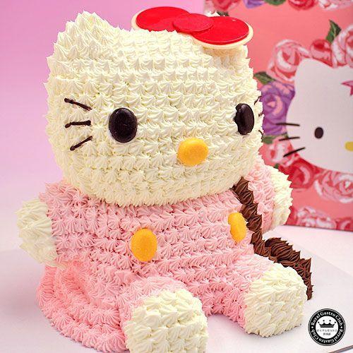 ハローキティ 立体ケーキ 約8〜10人分 3Dデコレーション Hello Kittyのキャラクターケーキ 子供 かわいい スイーツ aionline-japan