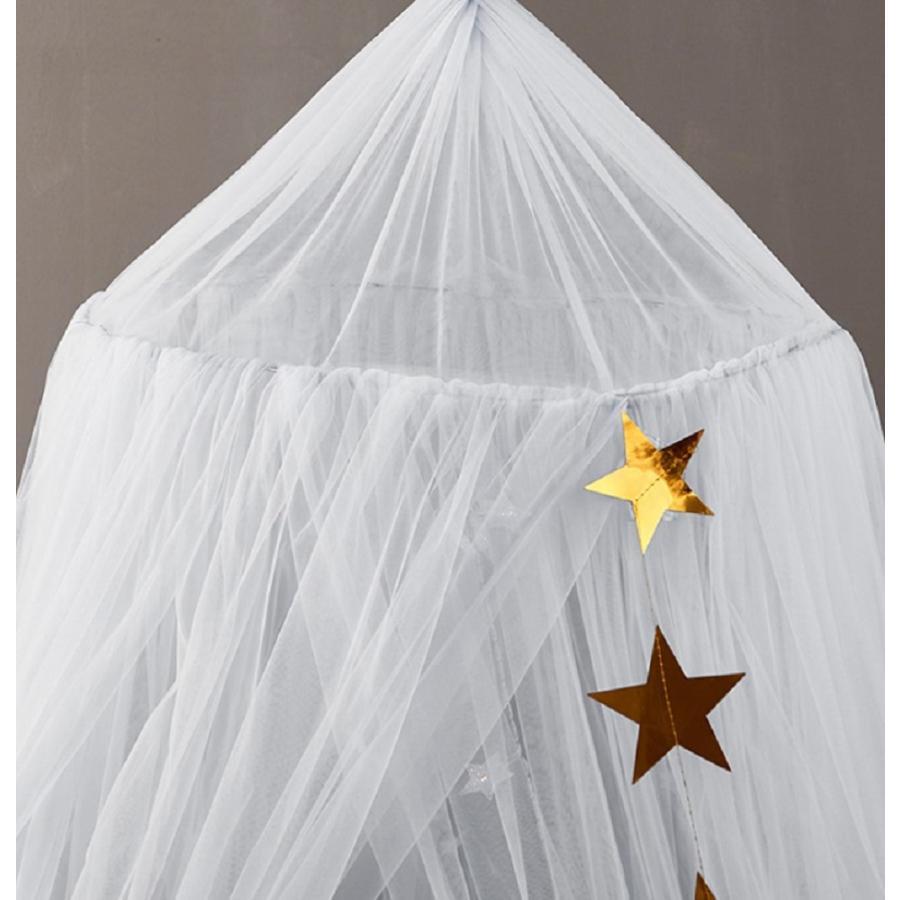 スター モスキートネット 蚊帳 天蓋 お姫様ベッド ベビーバル かや フック付き かわいい フラワー天蓋 カーテン バラ ローズ プリンセスベット 天蓋カーテン|aioshop|10