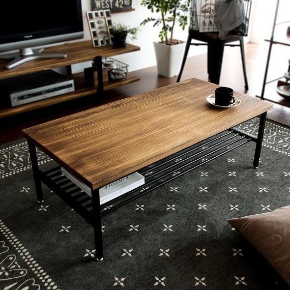 テーブル ローテーブル リビングテーブル 値下げ おしゃれ 情熱セール 木製 センターテーブル エアリゾーム カフェテーブル インダストリアル 棚付き ヴィンテージ 収納