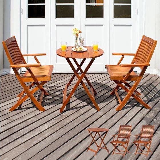 ガーデンテーブルセット 木製 折りたたみ おしゃれ 3点セット 木製ガーデンテーブルセット ガーデンテーブル ガーデンチェア ガーデンファニチャー