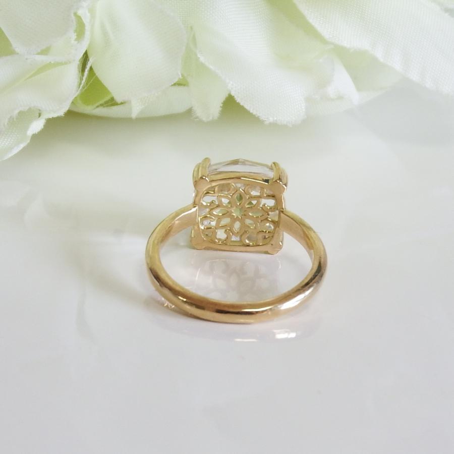 万華鏡のようなクォーツ(水晶)と透かし模様K18ゴールドリング airejewelry 04