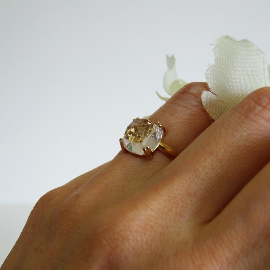 万華鏡のようなクォーツ(水晶)と透かし模様K18ゴールドリング airejewelry 05