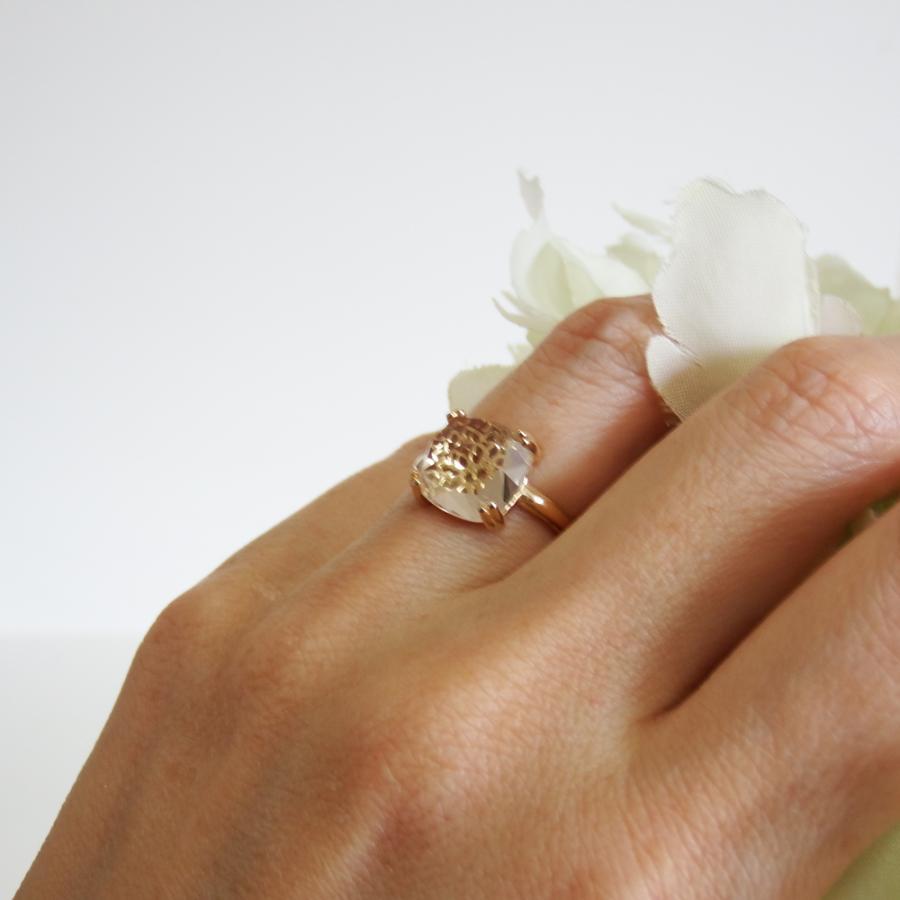 万華鏡のようなクォーツ(水晶)と透かし模様K18ゴールドリング airejewelry 06