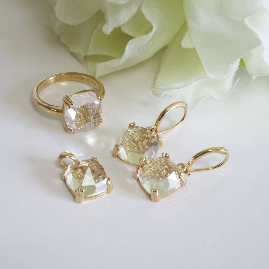 万華鏡のようなクォーツ(水晶)と透かし模様K18ゴールドリング airejewelry 07