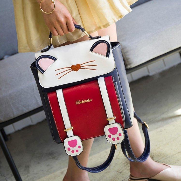 リュック 猫 リュックサック 可愛い ねこ耳 バッグ キャンバス 軽量 学生 通学 レディース キズ 大容量 バックパック アウトドア|airii-shop