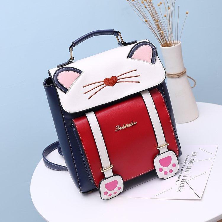 リュック 猫 リュックサック 可愛い ねこ耳 バッグ キャンバス 軽量 学生 通学 レディース キズ 大容量 バックパック アウトドア|airii-shop|12