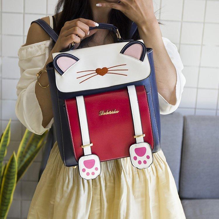 リュック 猫 リュックサック 可愛い ねこ耳 バッグ キャンバス 軽量 学生 通学 レディース キズ 大容量 バックパック アウトドア|airii-shop|14
