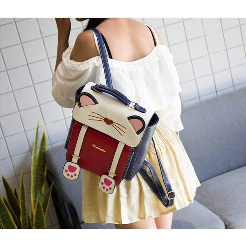 リュック 猫 リュックサック 可愛い ねこ耳 バッグ キャンバス 軽量 学生 通学 レディース キズ 大容量 バックパック アウトドア|airii-shop|16