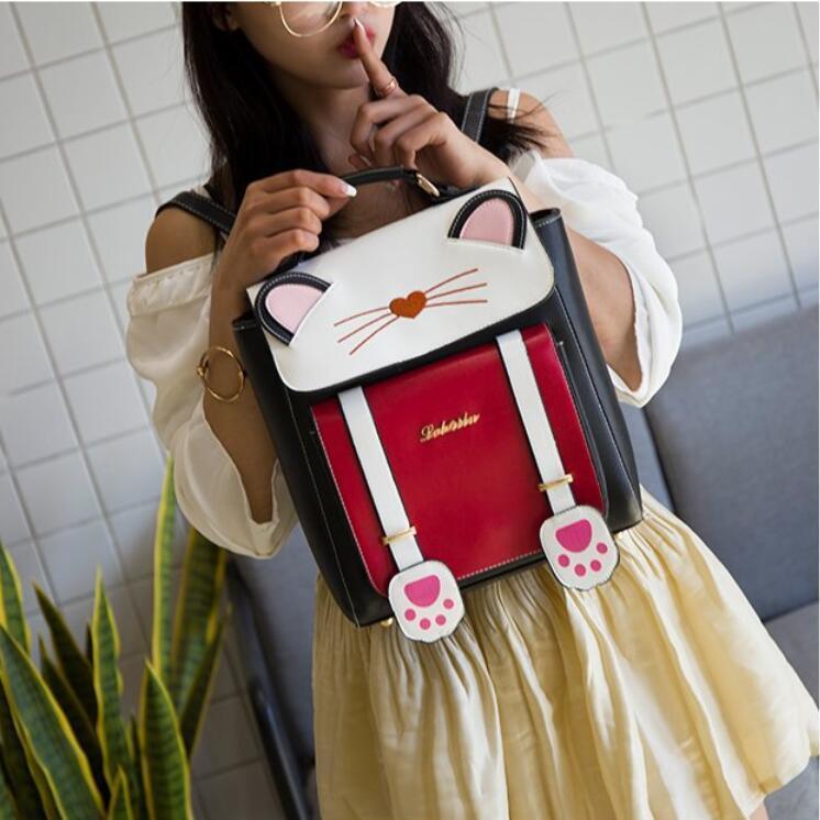 リュック 猫 リュックサック 可愛い ねこ耳 バッグ キャンバス 軽量 学生 通学 レディース キズ 大容量 バックパック アウトドア|airii-shop|18
