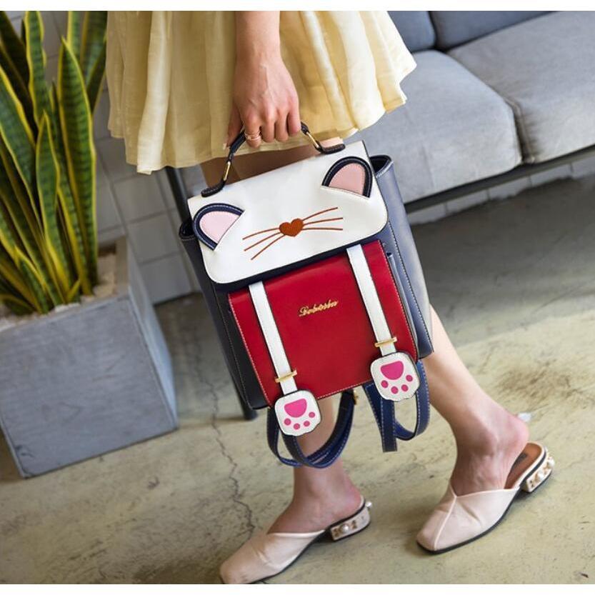 リュック 猫 リュックサック 可愛い ねこ耳 バッグ キャンバス 軽量 学生 通学 レディース キズ 大容量 バックパック アウトドア|airii-shop|19