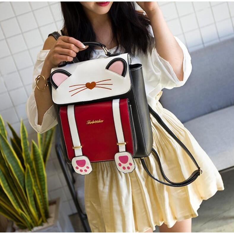 リュック 猫 リュックサック 可愛い ねこ耳 バッグ キャンバス 軽量 学生 通学 レディース キズ 大容量 バックパック アウトドア|airii-shop|20