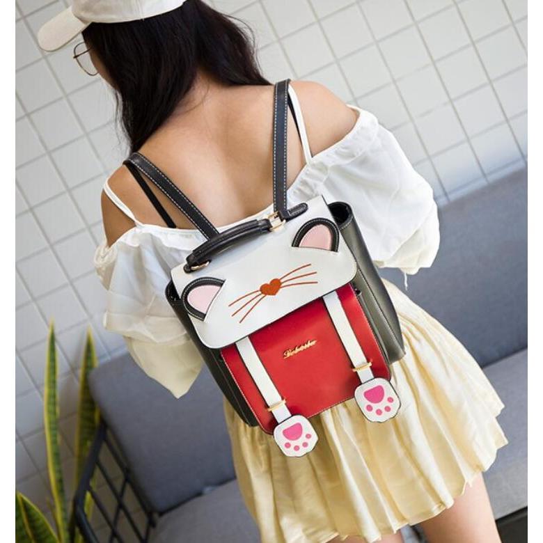 リュック 猫 リュックサック 可愛い ねこ耳 バッグ キャンバス 軽量 学生 通学 レディース キズ 大容量 バックパック アウトドア|airii-shop|03