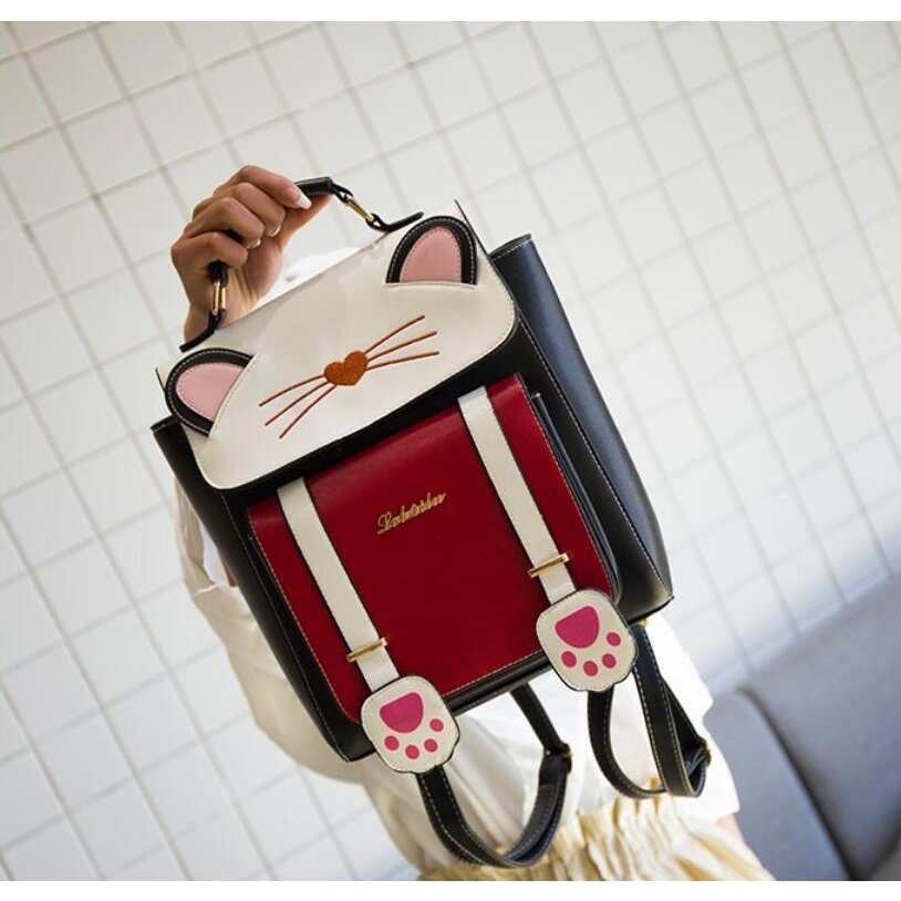 リュック 猫 リュックサック 可愛い ねこ耳 バッグ キャンバス 軽量 学生 通学 レディース キズ 大容量 バックパック アウトドア|airii-shop|04