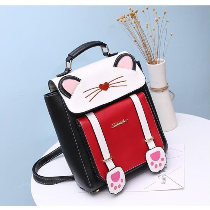 リュック 猫 リュックサック 可愛い ねこ耳 バッグ キャンバス 軽量 学生 通学 レディース キズ 大容量 バックパック アウトドア|airii-shop|05
