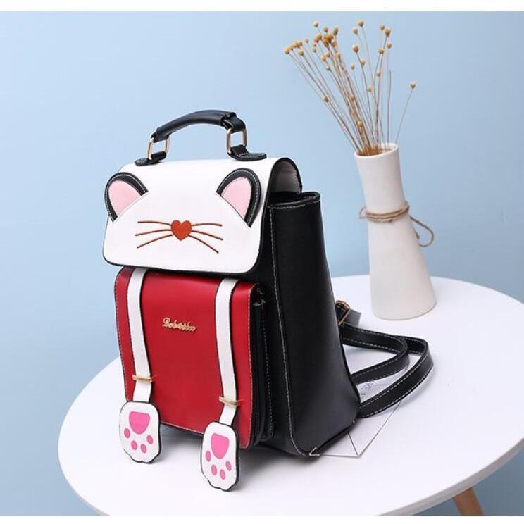 リュック 猫 リュックサック 可愛い ねこ耳 バッグ キャンバス 軽量 学生 通学 レディース キズ 大容量 バックパック アウトドア|airii-shop|06