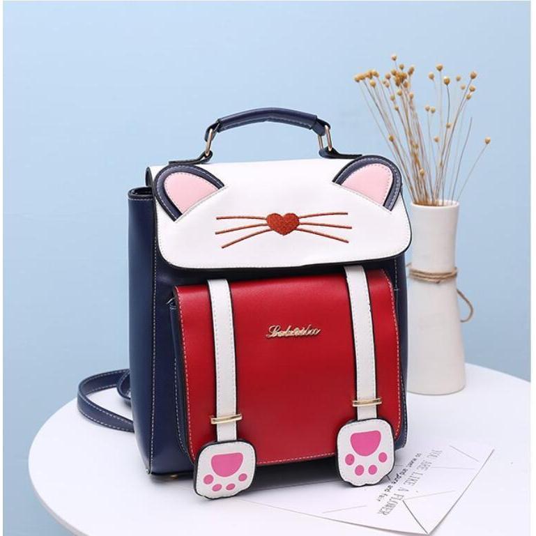 リュック 猫 リュックサック 可愛い ねこ耳 バッグ キャンバス 軽量 学生 通学 レディース キズ 大容量 バックパック アウトドア|airii-shop|09