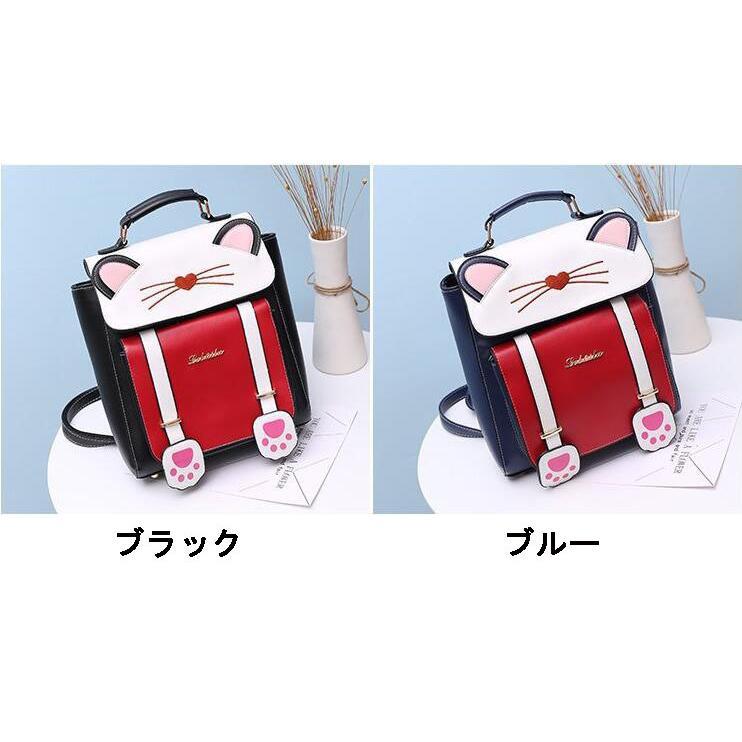 リュック 猫 リュックサック 可愛い ねこ耳 バッグ キャンバス 軽量 学生 通学 レディース キズ 大容量 バックパック アウトドア|airii-shop|10