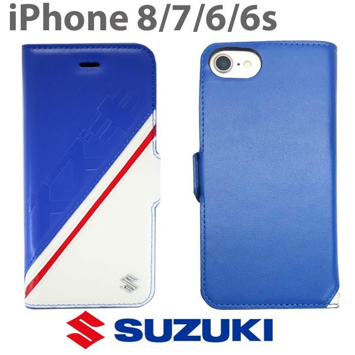 SUZUKI・公式ライセンス品 iPhone8 iPhone7 iPhone6s iPhone6 iPhoneケース スズキ 手帳型 ケース PUレザー スマホケース ブルー 送料無料 airs