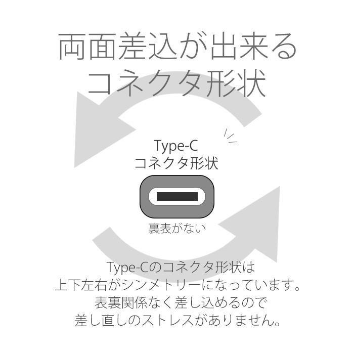 Type-C AC充電器 高出力 2.4A リバーシブル コネクター ケーブル長2.5m スマホ 家庭用 コンセント 充電 USB タイプC スマートフォン PSE規格対応|airs|04