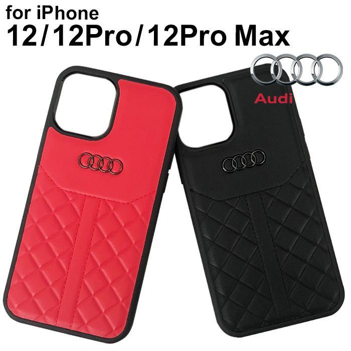 Audi・公式ライセンス品 iPhone12 iPhone12Pro iPhone12ProMax ケース 本革 ハードケース スポーティ ブラック レッド【送料無料】|airs