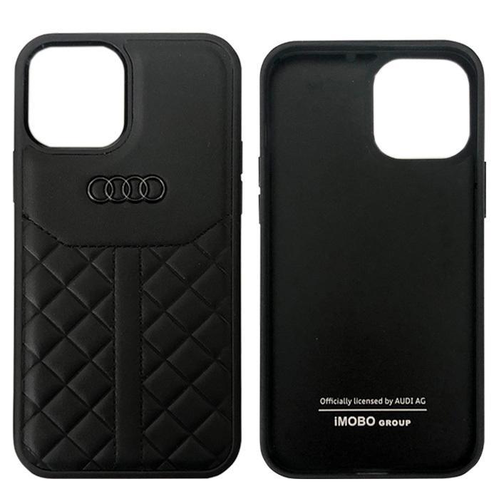 Audi・公式ライセンス品 iPhone12 iPhone12Pro iPhone12ProMax ケース 本革 ハードケース スポーティ ブラック レッド【送料無料】|airs|02
