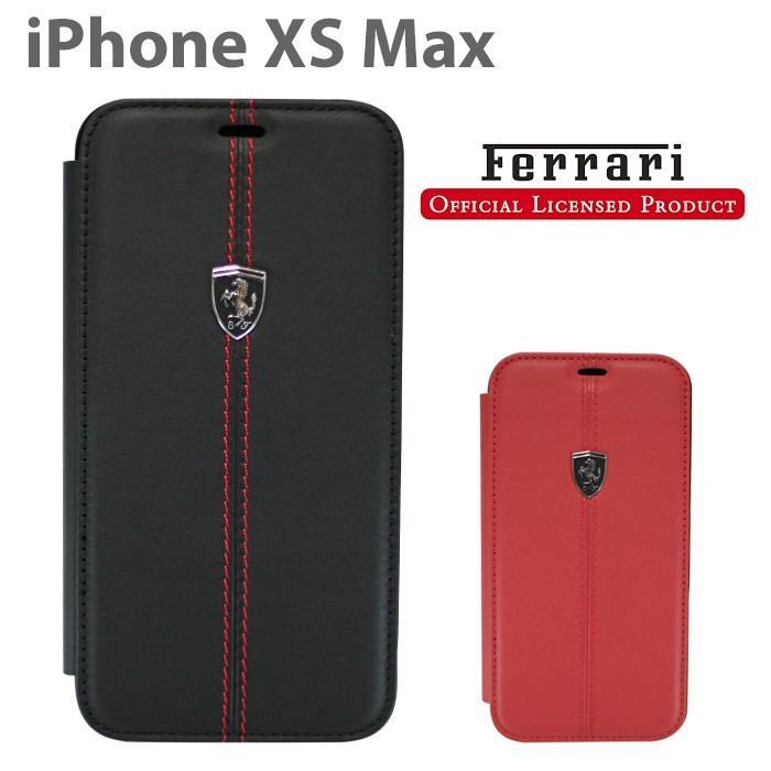 フェラーリ iPhone XS Max 手帳型 ケース 公式ライセンス品 アイフォンケース ブランド メンズ カバー 本革 レザー ブラック レッド|airs