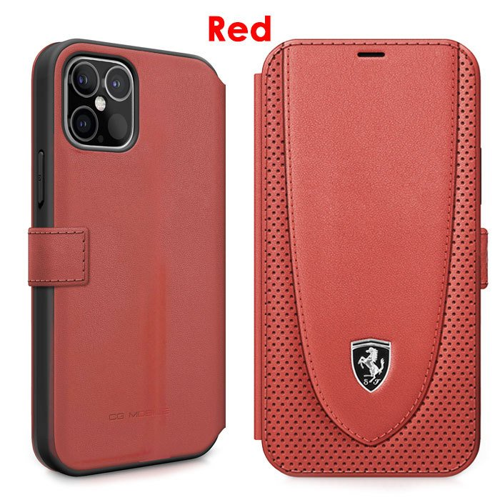 Ferrari フェラーリ 公式ライセンス品 iPhone12mini iPhone12 iPhone12Pro iPhone12ProMax 本革 手帳型ケース ブラック レッド|airs|03