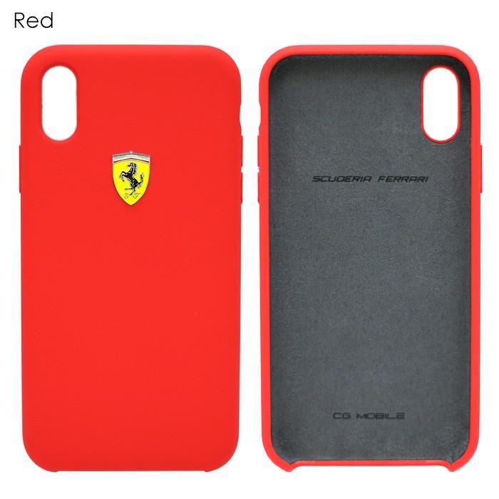フェラーリ iPhone Xs Max ハードケース 公式ライセンス品 アイフォンケース ブランド メンズ カバー シリコン ブラック レッド airs 03