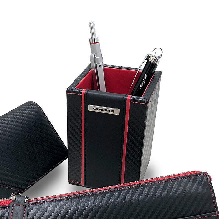ペン立て ペンスタンド おしゃれ レッド ブラック 赤 黒 カーボン調 オフィス ペンホルダー メンズ 大人 男性 GT-MOBILE|airs