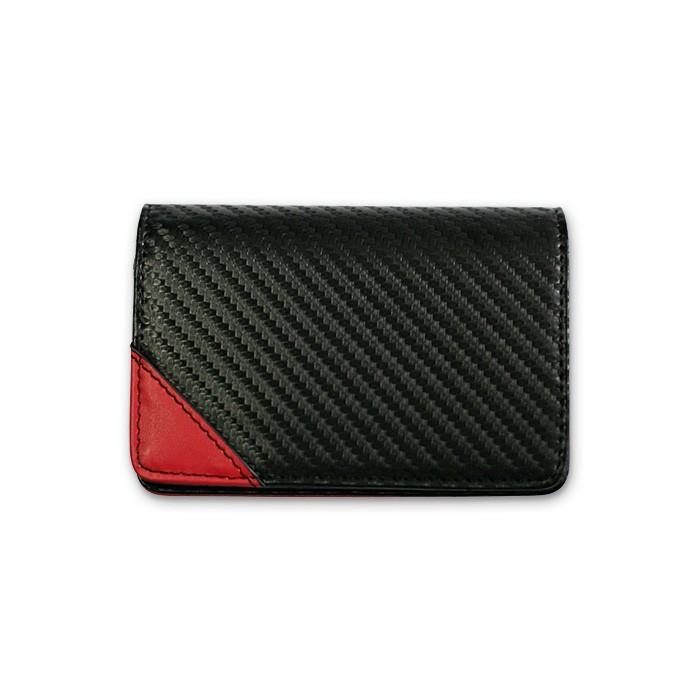 名刺入れ メンズ ビジネス 革 レッド ブラック 赤 黒 カーボン調 名刺 カードケース 大人 男性 GT-MOBILE|airs